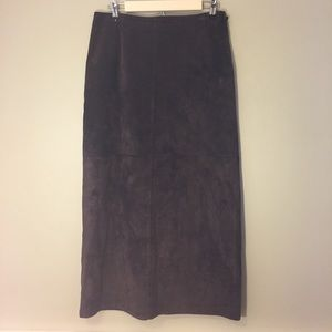 Brooks Brothers 346 Dark Brown Suede Maxi Skirt